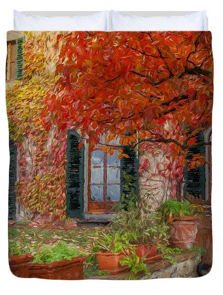 Tuscan Villa In Autumn Duvet Cover
