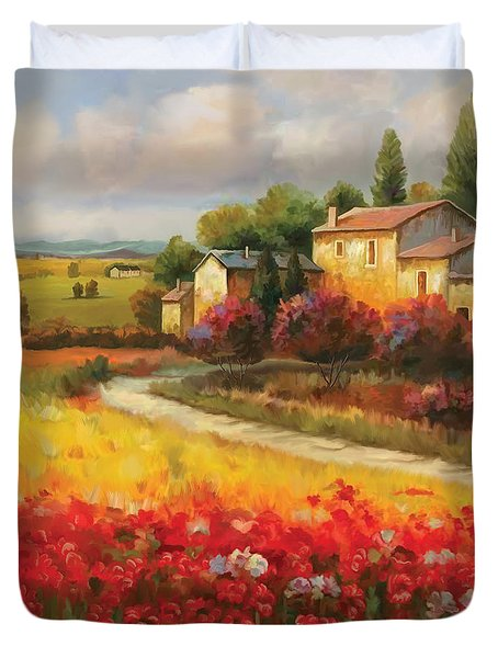 Duvet Cover featuring the painting Tuscan Villa  by Tim Gilliland