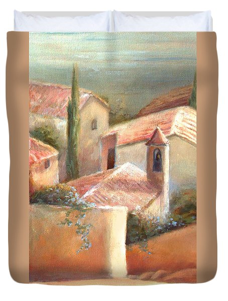 Duvet Cover featuring the painting Tuscan Village by Michael Rock