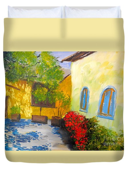 Duvet Cover featuring the painting Tuscany Courtyard 2 by Pamela  Meredith