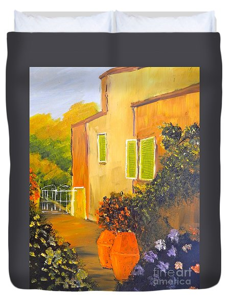 Duvet Cover featuring the painting Tuscany Courtyard by Pamela  Meredith