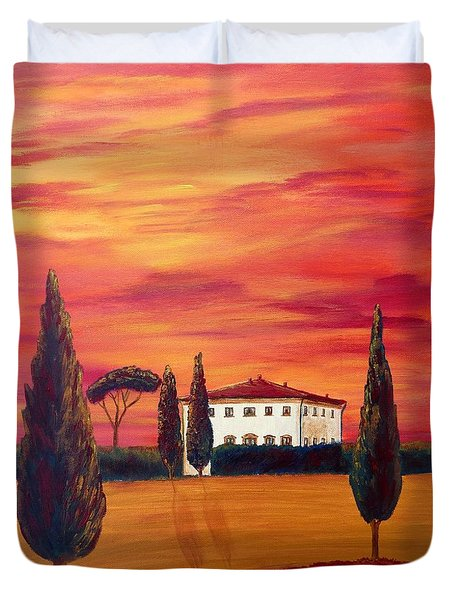 Tuscany In Red Duvet Cover by Christine Huwer