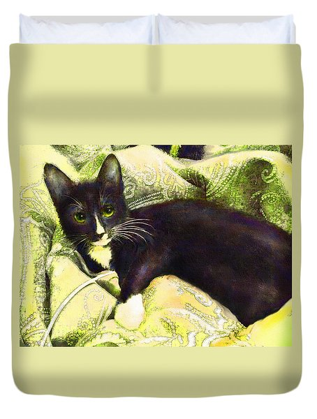 Duvet Cover featuring the digital art Tuxedo Cat by Jane Schnetlage