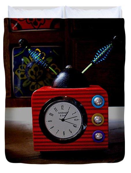 Tv Clock Duvet Cover