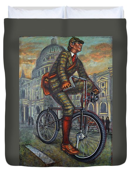 Bob On His Bantam St Pauls London Duvet Cover by Mark Jones