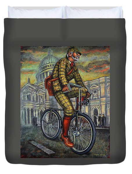 Tweed Run In Apple Green Passing St Paul's London Duvet Cover by Mark Jones