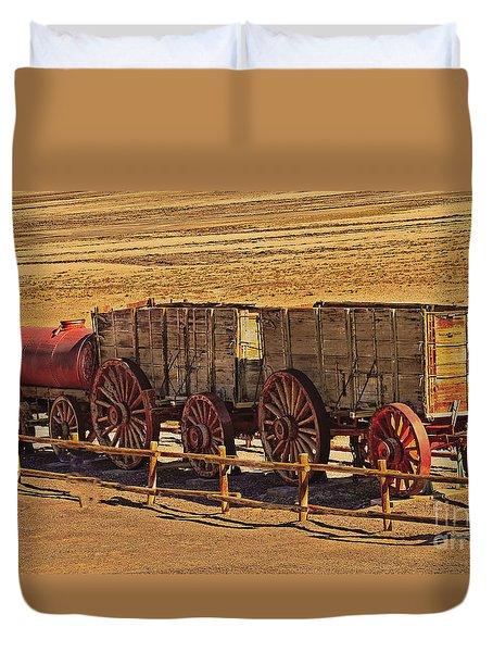 Twenty-mule Team In Sepia Duvet Cover by Robert Bales