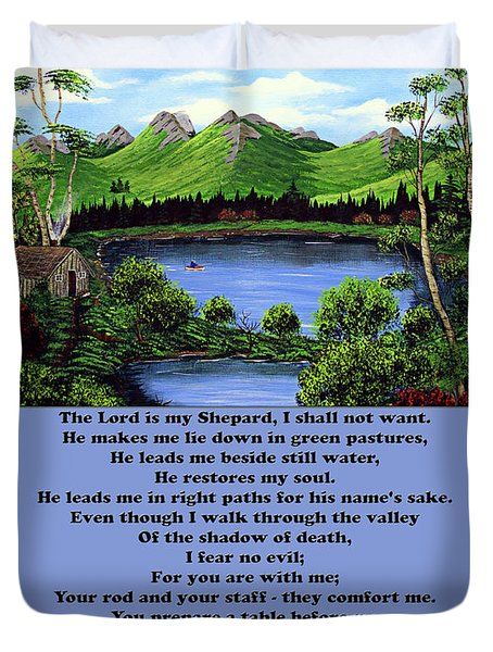 Twenty-third Psalm With Twin Ponds Blue Duvet Cover by Barbara Griffin