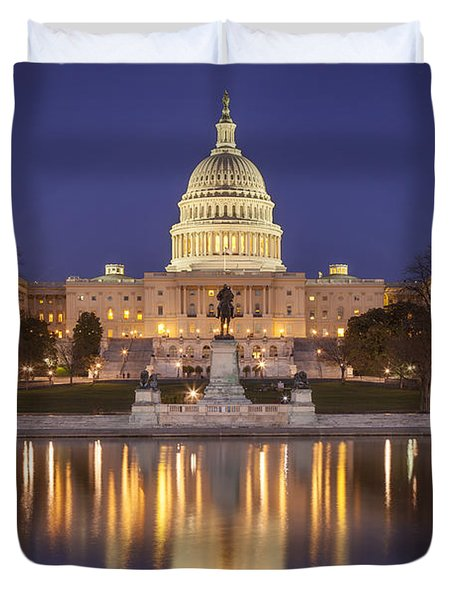Duvet Cover featuring the photograph Twilight At Us Capitol by Brian Jannsen