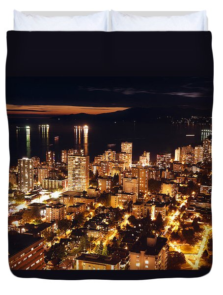 Duvet Cover featuring the photograph Twilight English Bay Vancouver Mdlxvii by Amyn Nasser