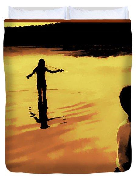 Duvet Cover featuring the photograph Twilight Fishing by John Hansen
