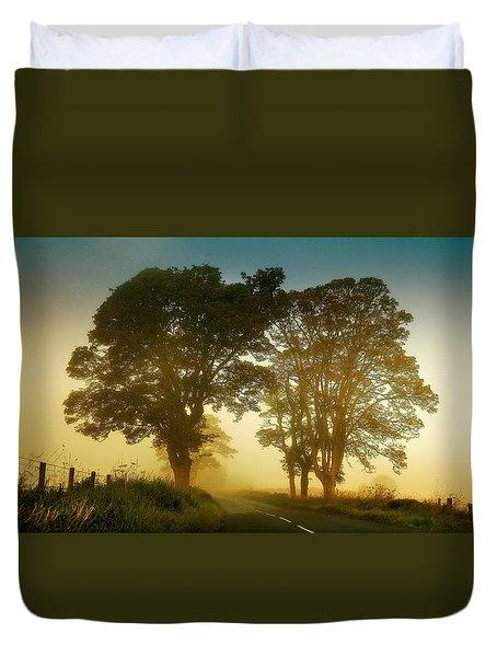 Twilight Guardians. Misty Roads Of Scotland Duvet Cover by Jenny Rainbow