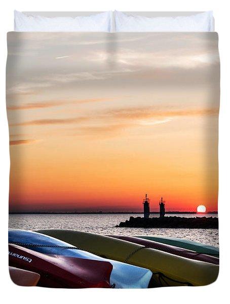 Twilight Kayaks Duvet Cover by Barbara McMahon