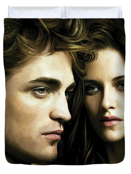 Duvet Cover featuring the painting Twilight  Kristen Stewart And Robert Pattinson Artwork 4 by Sheraz A