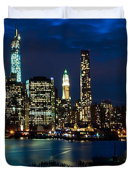 Twilight Nyc Panorama Duvet Cover by Mitchell R Grosky