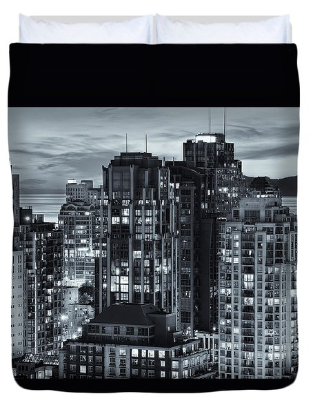 Duvet Cover featuring the photograph Twilight On Cityscape Of Vancouver Overlooking English Bay - Greeting Card by Amyn Nasser