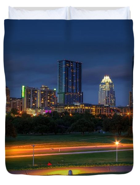 Duvet Cover featuring the photograph Twilight Skyline by Dave Files