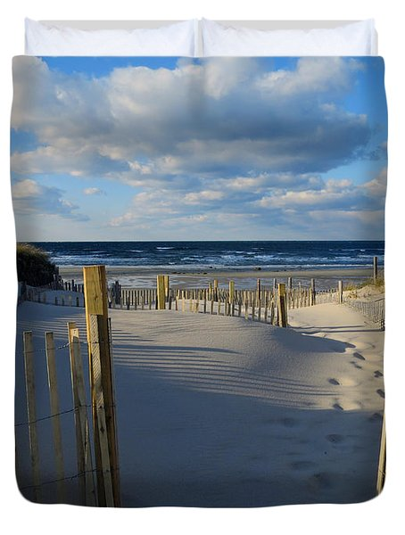 Duvet Cover featuring the photograph Golden Hour Beach by Dianne Cowen