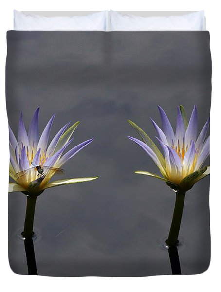 Twin Blue Egyptian Lotus Waterlilies And Dragonfly Duvet Cover by Byron Varvarigos