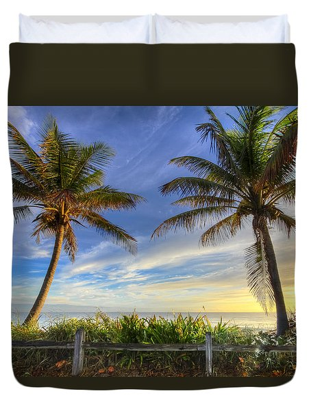 Twin Palms Duvet Cover by Debra and Dave Vanderlaan