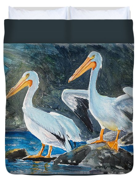 Da208 Twin Pelicans By Daniel Adams Duvet Cover