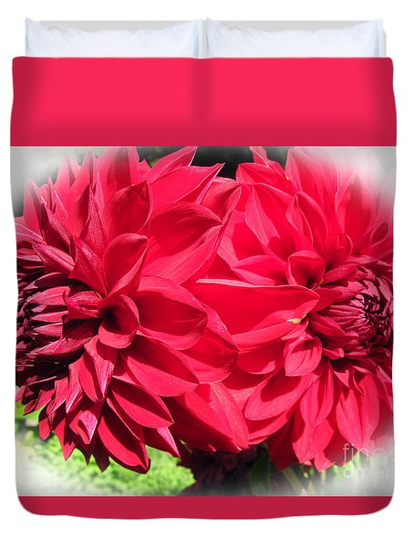 Duvet Cover featuring the photograph Twin Red Dahlias by Tina M Wenger