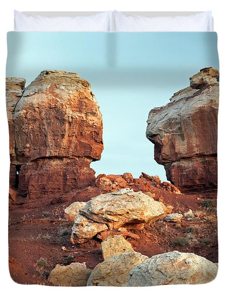 Twin Rocks At Sunrise Capitol Reef National Park Duvet Cover