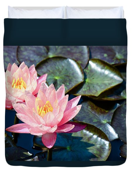 Two Pink Waterlilies Duvet Cover