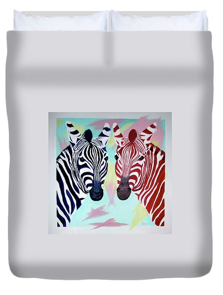 Duvet Cover featuring the painting Twin Zs by Phyllis Kaltenbach