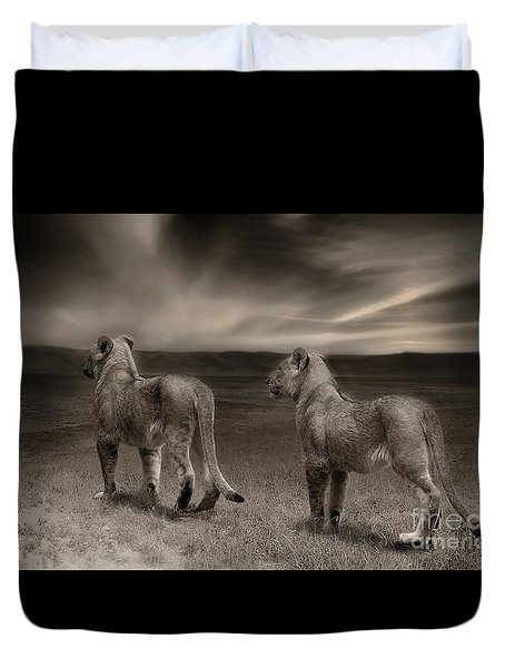Duvet Cover featuring the photograph Twins 2 by Christine Sponchia