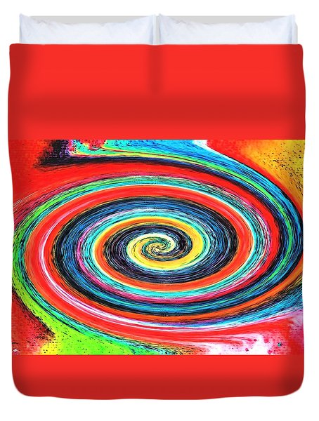 Duvet Cover featuring the painting Twirling Paint by Carolyn Repka