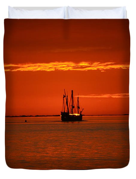 Duvet Cover featuring the photograph Two 3-masted Schooners Sail Off Into The Santa Rosa Sound Sunset by Jeff at JSJ Photography