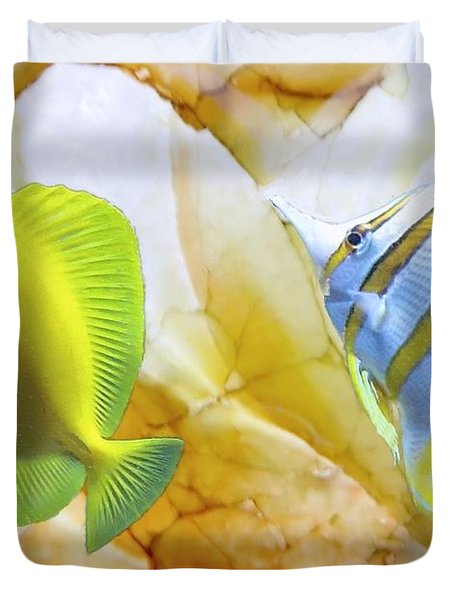 Duvet Cover featuring the photograph Two Angelfish by Janette Boyd