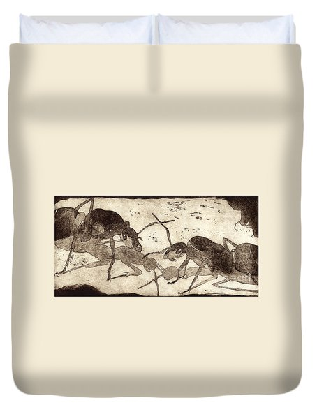 Two Ants In Communication - Etching Duvet Cover