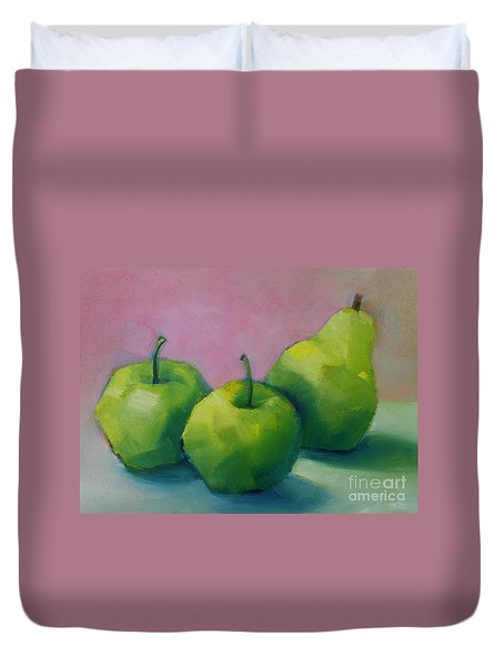 Two Apples And One Pear Duvet Cover