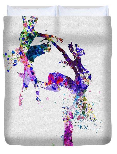 Two Ballerinas Dance Watercolor Duvet Cover by Naxart Studio