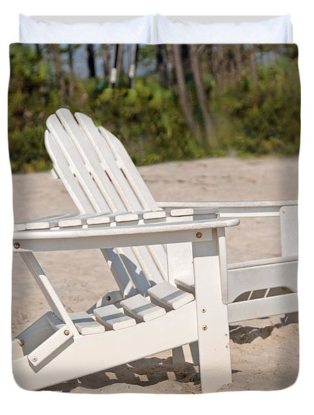 Duvet Cover featuring the photograph Two Beach Chairs by Charles Beeler