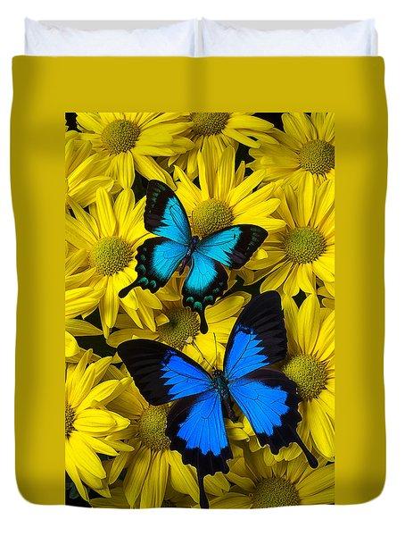 Two Blue Butterflies Duvet Cover by Garry Gay