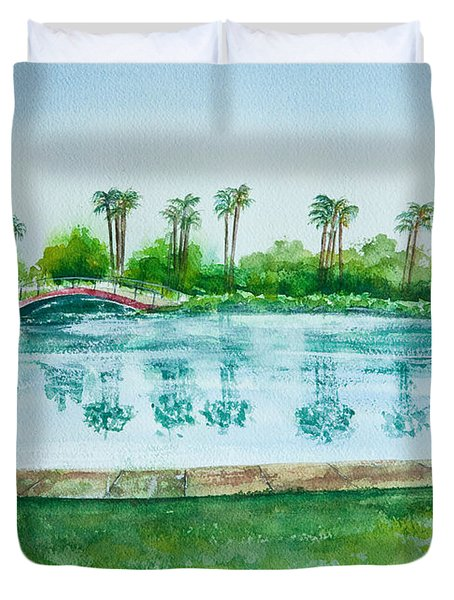 Two Bridges At Rainbow Lagoon Duvet Cover