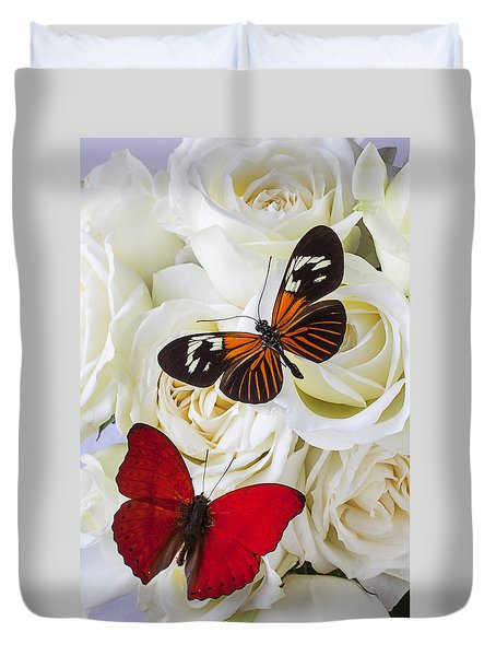 Two Butterflies On White Roses Duvet Cover by Garry Gay