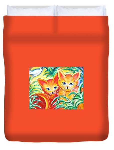 Duvet Cover featuring the painting Two Cats by Anya Heller