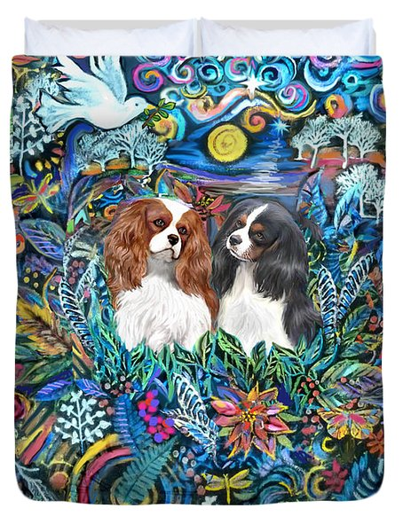 Two Cavaliers In A Garden Duvet Cover