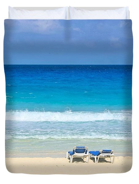 Two Chairs On Cancun Beach Duvet Cover