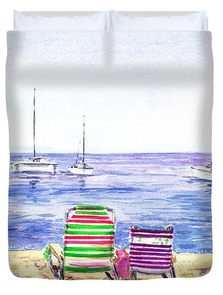 Two Chairs On The Beach Duvet Cover by Irina Sztukowski