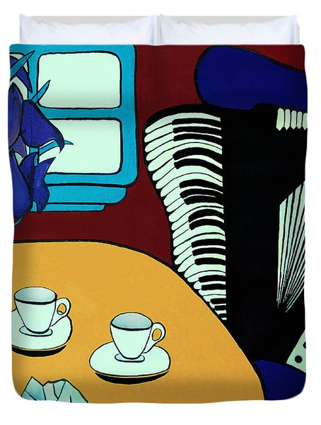 Two Cups One Accordian Duvet Cover by Barbara McMahon
