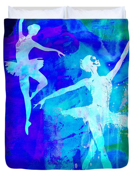 Two Dancing Ballerinas  Duvet Cover by Naxart Studio