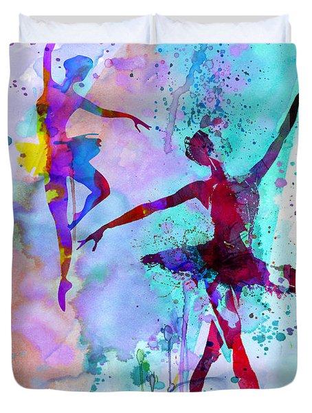 Two Dancing Ballerinas Watercolor 2 Duvet Cover by Naxart Studio