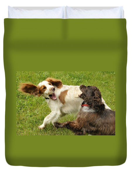 Two Dogs Playing Duvet Cover