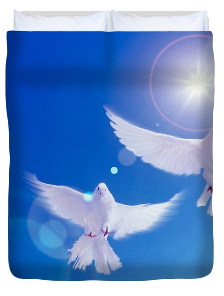 Two Doves Side By Side With Wings Duvet Cover