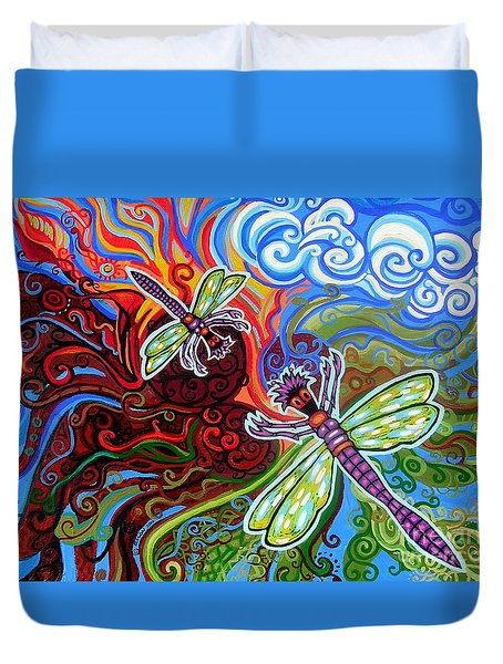 Two Dragonflies Duvet Cover by Genevieve Esson